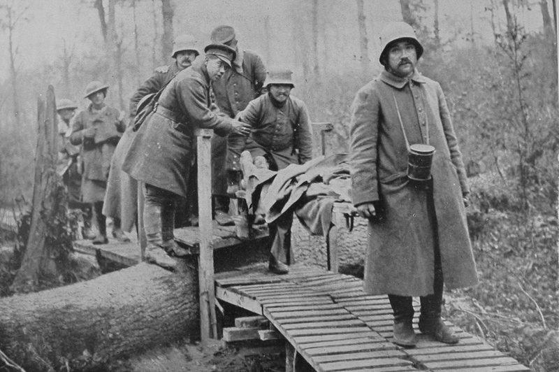 German Prisoners As Stretcher Bearers Directed By A British Officer Bringing In The Wounded