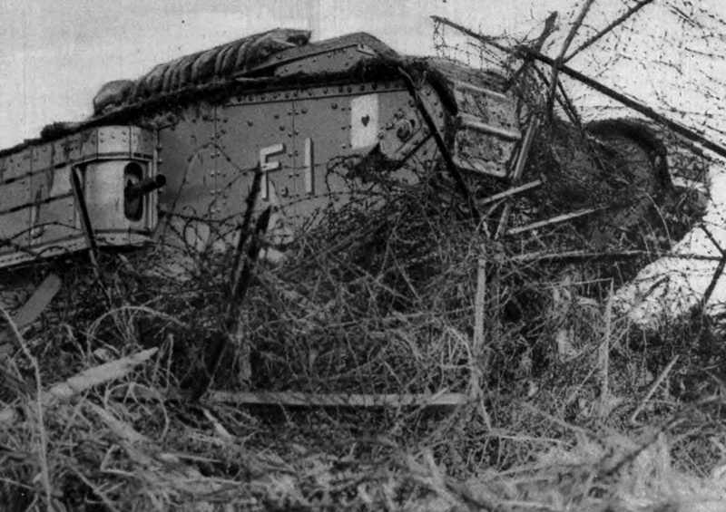 A Tank Charging A German Barbed Wire Entanglement