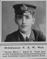 Wait P A W Midshipman H.M.S. Queen Mary Royal Navy The Sphere 22nd July 1916