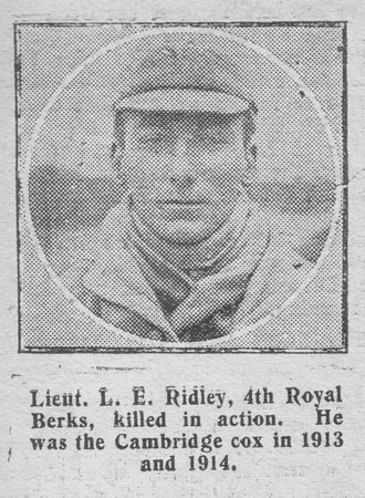 Ridley L E Lt 4th Royal Berkshire Regiment The Graphic 25th Aug 1916