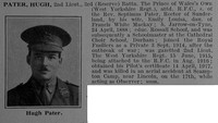 Pater H 2nd Lt 3rd West Yorkshire Regiment Attd Royal Flying Corps Obit De Ruvignys Roll Of Honour Vol 3