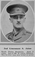 Johns S 2nd Lt RE The Sphere 29th Apr 1916