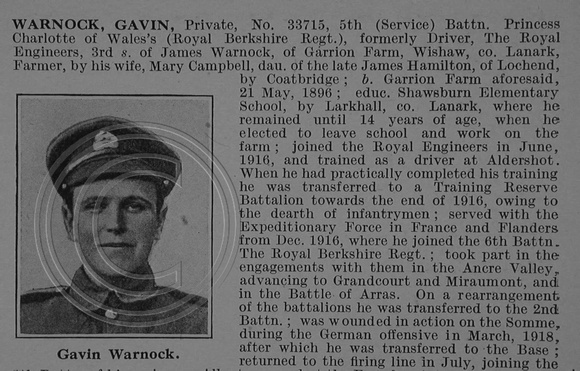 Warnock G Pte 33715 5th Royal Berkshire Regiment Obit Part 1 De Ruvignys Roll Of Honour Vol 4