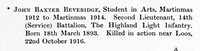 Beveridge J B 2nd Lt 14th Highland Light Infantry Obit St Andrews University Roll Of Honour