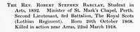 Barclay R S 2nd Lt 3rd Royal Scots Obit St Andrews University Roll Of Service
