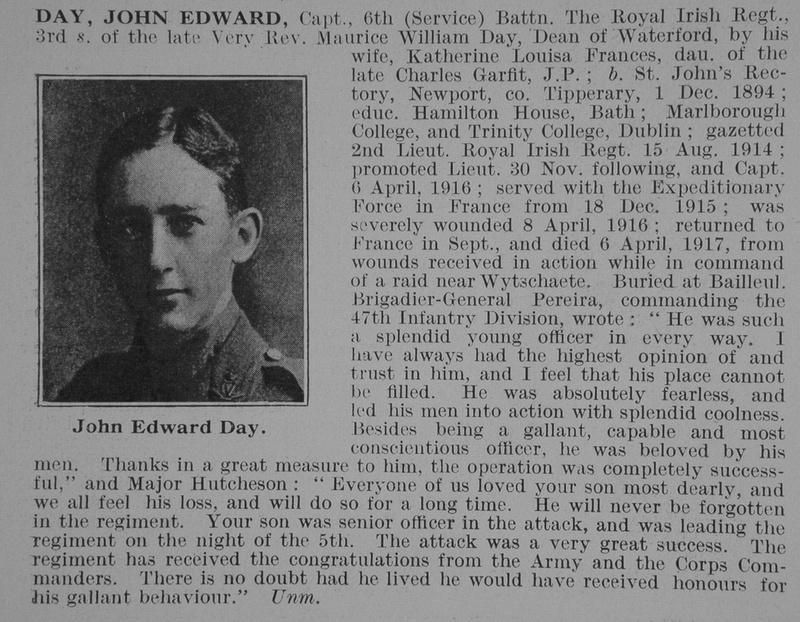 UK Photo And Social History Archive: D &emdash; Day J E Captain 6th Royal Irish Regiment Obit De Ruvignys Roll Of Honour Vol 3