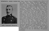 Simpson J E Captain Kings Own Yorkshire Light Infantry Obit De Ruvignys Roll Of Honour Vol 1