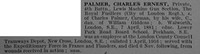Palmer C E Pte 4th London Regiment (Royal Fusiliers) Obit De Ruvignys Roll Of Honour Vol 4