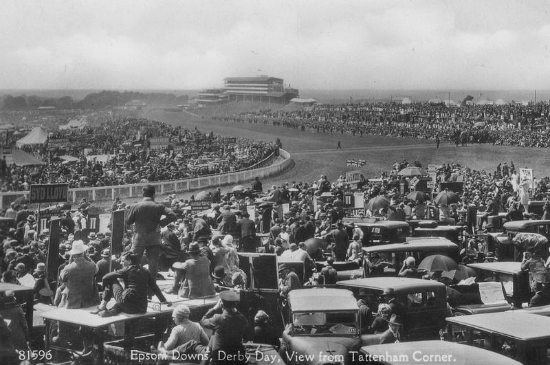 Derby Day Epsom Downs View From Tattenham Corner c.1920