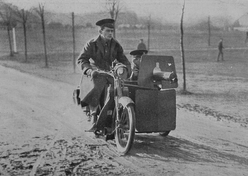 A Motor Cycle And Machine Gun Side Car