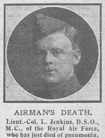 Jenkins L Lt Col DSO MC Royal Air Force The Graphic 27th Nov 1918