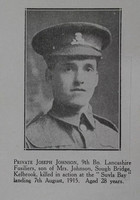 Johnson J Pte 9th Lancashire Fusiliers Craven Roll Of Honour