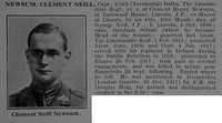 Newsum C N Captain 5th Lincolnshire Regiment Obit De Ruvignys Roll Of Honour Vol 3