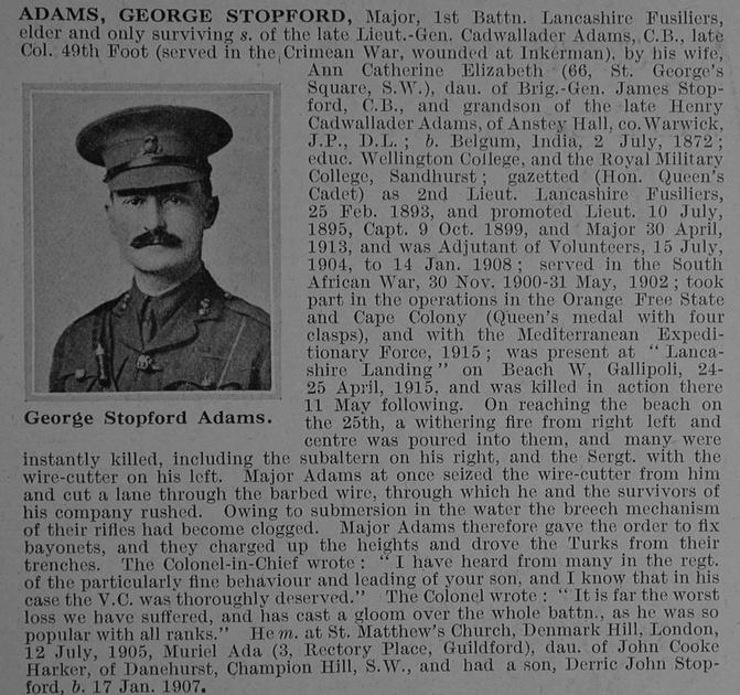 UK Photo And Social History Archive: A &emdash; Adams G S Major 1st Lancashire Fusiliers Obit De Ruvignys Roll Of Honour Vol 1