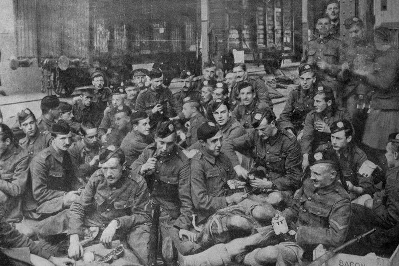 A Party Of London Scottish On A French Railway Station 1914