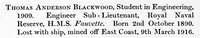 Blackwood T A Sub Lt HMS Fauvette RNR Obit St Andrews University Roll Of Honour