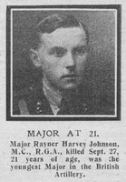 Johnson R H Major MC Royal Garrison Artillery The Graphic 12th Oct 1918