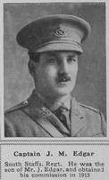 Edgar J M Captain South Staffs Regt The Sphere 18th May 1918