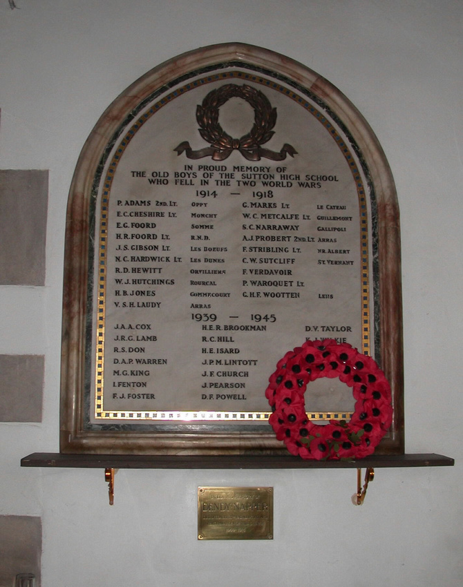 Memorial To The Old Boys Of Sutton High School