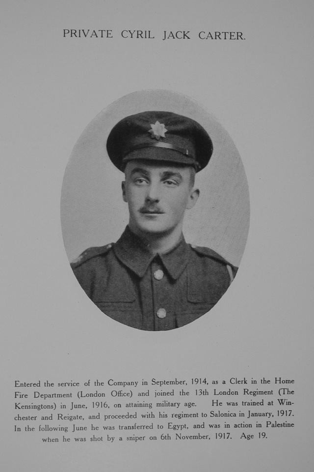 Carter C J Pte 13th London Regiment Northern Assurance Co War Record