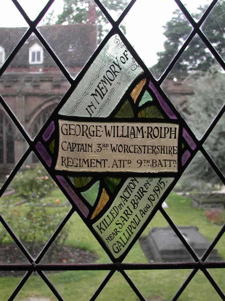 Rolph G W Captain 9th Worcestershire Regiment Memorial Window Worcester Cathedral