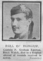 Egerton P G Captain 3rd Black Watch Attd 19th London Regiment The Graphic 26th Oct 1918