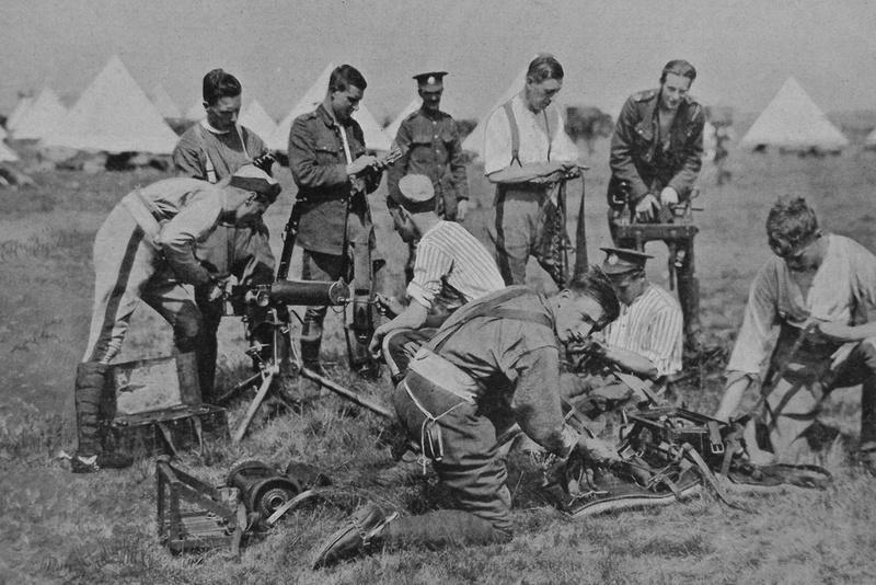 Rough Riders Cleaning Machine Guns In Camp