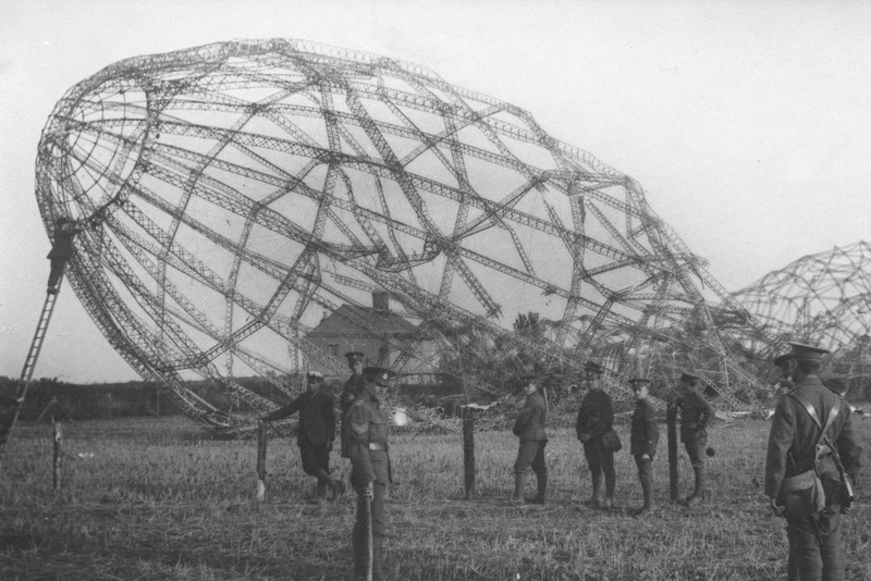 The Wrecked Zeppelin Brought Down By British Aviators Near The Coast of Essex.