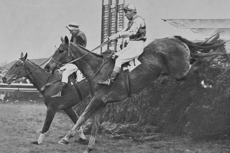 Larry Finn And Early Mist Taking A Fence In The 1953 Grand National