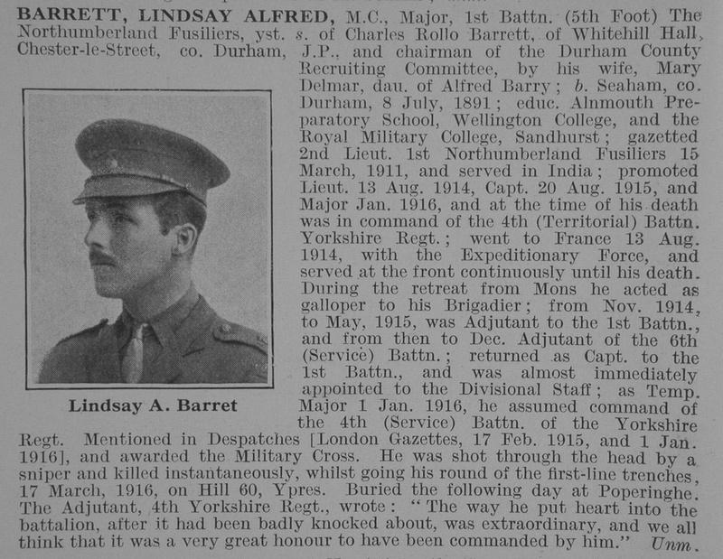 UK Photo And Social History Archive: B &emdash; Barrett L A Major MC 1st Northumberland Fus Obit DR3
