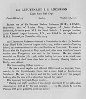 Anderson J S 2nd Lt Kings Royal Rifle Corps Obit