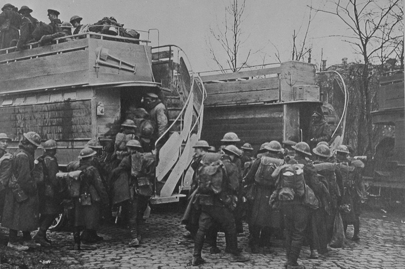 Troops At Arras Boarding On Of The 1300 London Buses Sent To France During The War