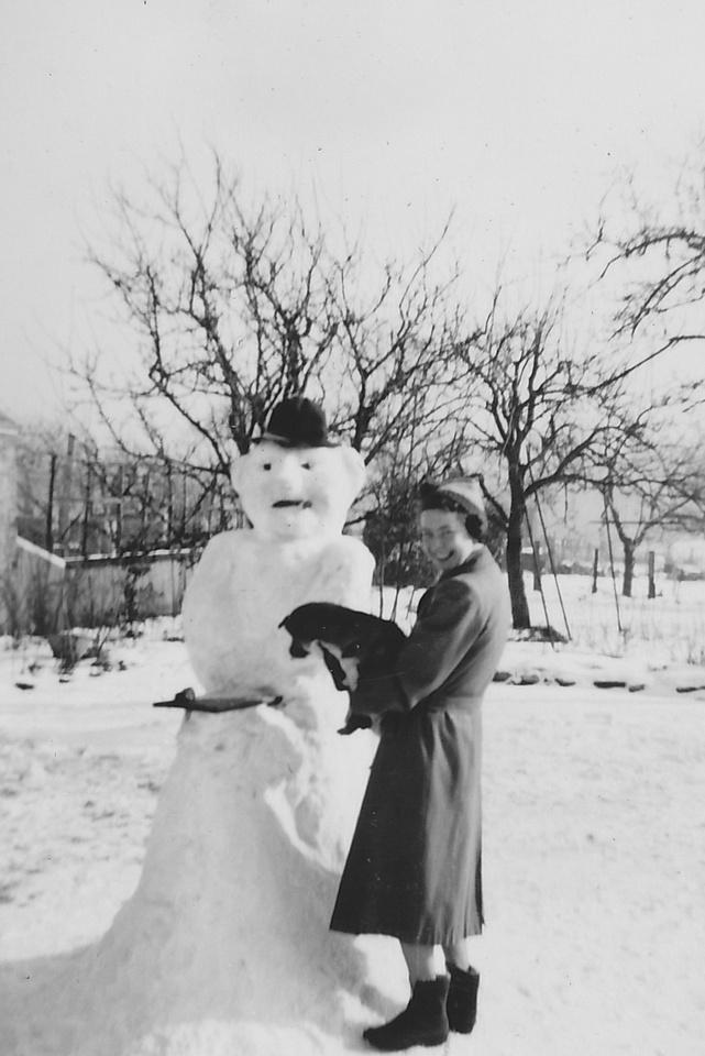 Building A Snowman In A Lincoln Garden Feb 1955