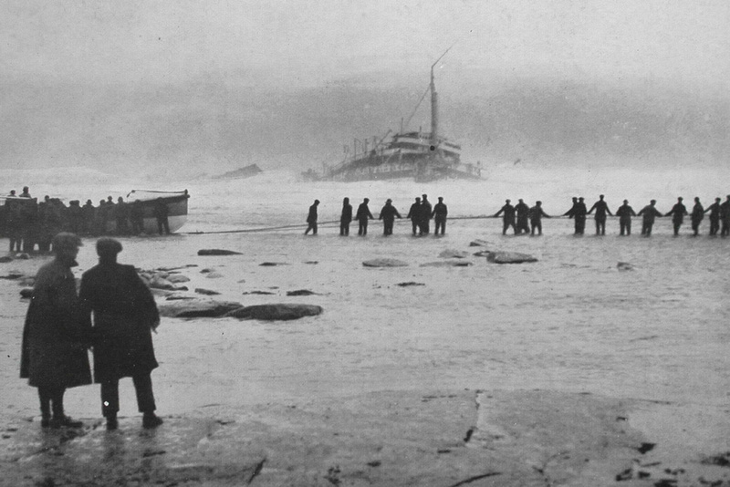 Life Guards Trying To Get A Line To The Hospital Ship Rohilla Sinking off the Whitby Coast 30th October 1914