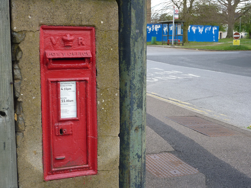 Victorian Post Box At Gate  Of Sutton Hospital Cotswold Road Sutton Surrey
