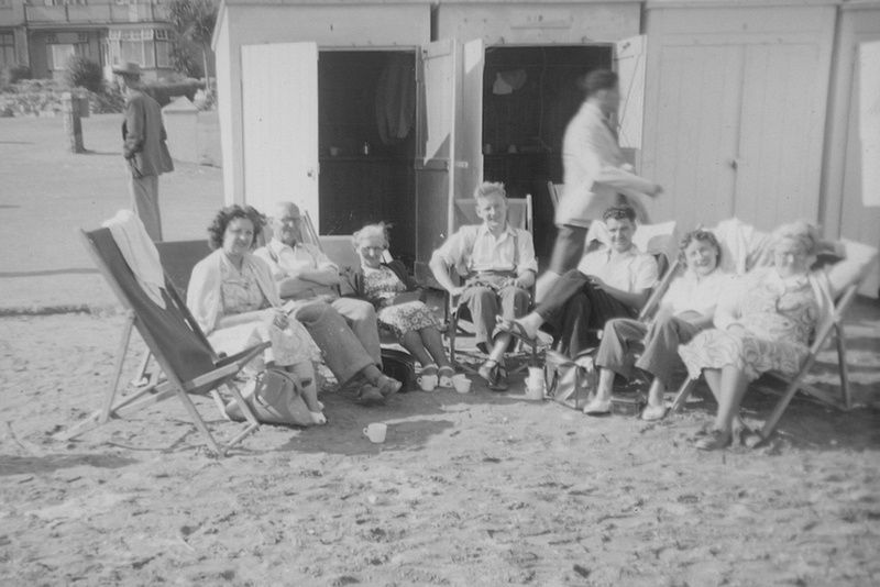 A Day At The Beach By The Beach Huts 1940s