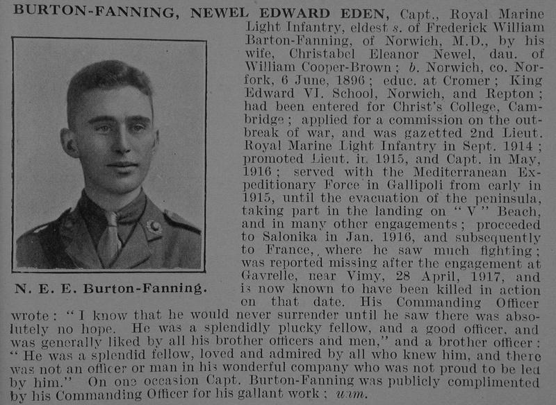 UK Photo And Social History Archive: B &emdash; Burton-Fanning N E E Captain Royal Marine Light Infantry Obit De Ruvignys Roll Of Honour Vol 5