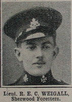 Weigall R E C Lt Notts & Derby Regt The War Illustrated 10th Apr 1915