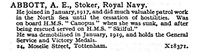 Abbott A E Stoker HMS Skilful Royal Navy 24 Moselle Street Tottenham London