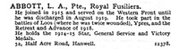 Abbott L A Pte Royal Fusiliers 52, Half Acre Road, Hanwell, London.