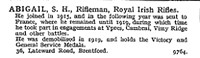 Abigail S H Rfn Royal Irish Rifles 36 Lateward Road, Brentford, London.