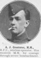 Greatorex A J Wireless Operator MM Royal Flying Corps The War Illustrated Vol 9
