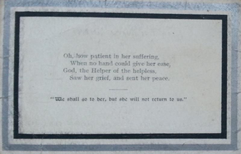 Memorial Card Rose Bourne Inside 1