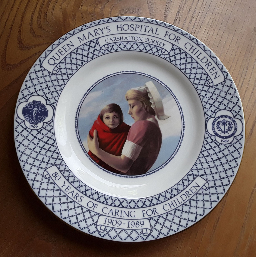Royal Worcester Queen Mary's Hospital Carshalton 80 Year Anniversary Plate