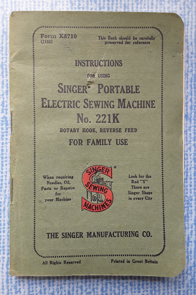 Instructions For Singer Portable Electric Sewing Machine No 221K