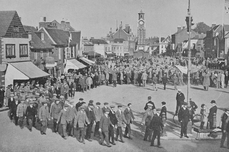 The University And Public Schools Brigade In Epsom High Street 19th Sep 1914