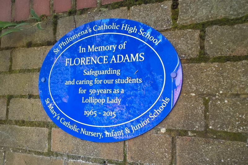 Plaque To Florence Adams Lollipop Lady Carshalton
