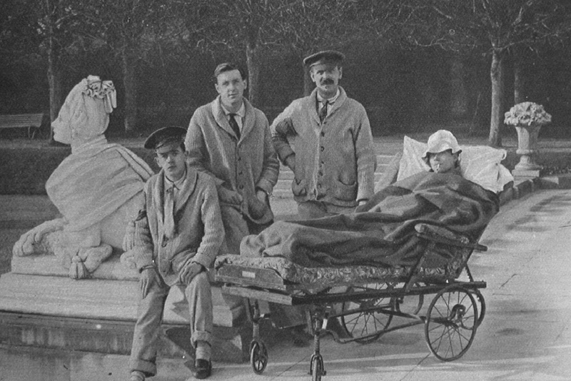 British Soldiers Resting In The Grounds Of The American War Hospital In Paignton