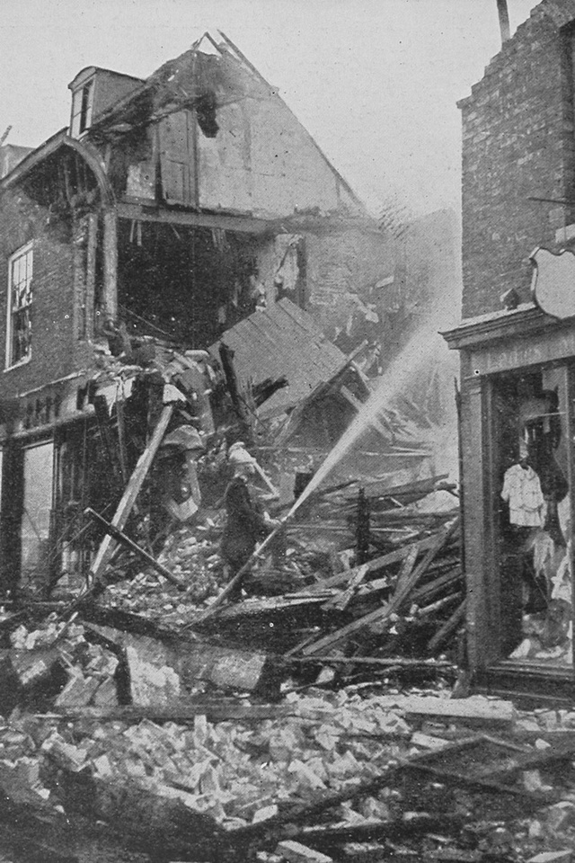 Shops In Butter Market Bury St Edmunds Burning After The Air Raid On 30th April 1915