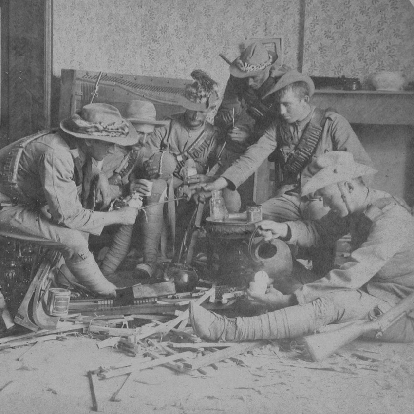 Remington Scouts Enjoying Lunch In A Boer Home Wrecked By Kaffirs Yaasfontein South Africa